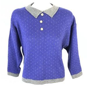 Vintage collared knitted sweater cropped